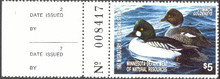 Minnesota Duck Stamp 1987 Goldeneye with agency data tab