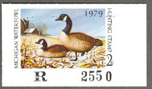 Michigan Duck Stamp 1979 Canada Geese Hidden Flock variety