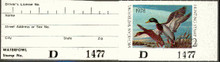 Michigan Duck Stamp 1978 Mallards full tab attached