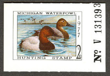 Michigan Duck Stamp 1977 Canvasbacks with plate #