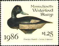 Massachusetts Duck Stamp 1986 Preening Blue Bill Stamp portrays decoy