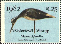 Massachusetts Duck Stamp 1982 Greater Yellowleg Stamp portrays decoy