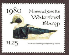 Massachusetts Duck Stamp 1980 Old Squaw Jumbo Oversized , Stamp portrays decoy