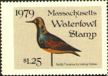 Massachusetts Duck Stamp 1979 Ruddy Turnstone Stamp portrays decoy