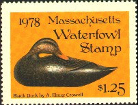 Massachusetts Duck Stamp 1978 Black Duck Stamp portrays decoy