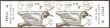 Maryland Duck Stamp 1980 Pintail Decoy Horizontal Pair with serial numbers