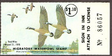 Maryland Duck Stamp 1975 Canada geese Yellow Wing Variety