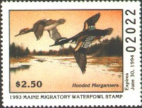 Maine Duck Stamp 1993 Hooded Mergansers