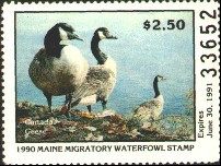 Maine Duck Stamp 1990 Canada Geese