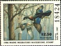 Maine Duck Stamp 1986 Wood Ducks