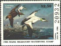 Maine Duck Stamp 1985 Common Eiders / Lighthouse