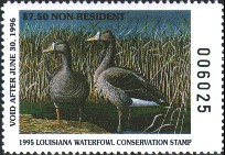 Louisiana Duck Stamp 1995 Speckled Belly Goose Non Resident