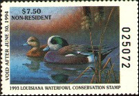 Louisiana Duck Stamp 1993 American Wigeon Non Resident