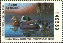 Louisiana Duck Stamp 1993 American Wigeon Resident