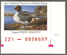 Kansas Duck Stamp 1991 Pintail Moon in Sky variety