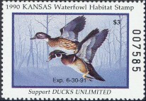 Kansas Duck Stamp 1990 Wood Ducks