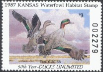 Kansas Duck Stamp 1987 Green - Winged Teal