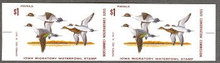 Iowa Duck Stamp 1973 Pintails Horizontal imperforate pair