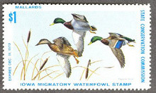 Iowa Duck Stamp 1972 Mallards Perforated all four sides