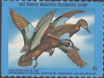 Indiana Duck Stamp 1982 Blue - Winged Teal