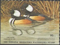 Indiana Duck Stamp 1981 Hooded Mergansers
