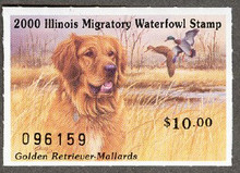 Illinois Duck Stamp 2000 Golden Retriever / Mallards XF Perforated 4 sides