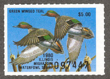 Illinois Duck Stamp 1980 Green - Winged Teal XF Perforated 4 sides