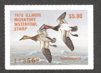 Illinois Duck Stamp 1978 Canvasbacks XF Perforated 4 sides