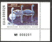 Idaho Duck Stamp 1990 Trumpeter Swans Extra Fine with Pane # XF