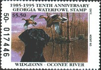 Georgia Duck Stamp 1995 American Wigeons / Black Lab