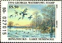 Georgia Duck Stamp 1994 Ring - Necked Ducks