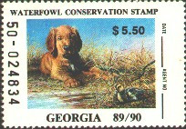 Georgia Duck Stamp 1989 Golden Retriever / Ducklings