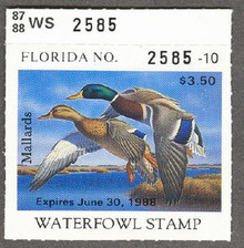 Florida Duck Stamp 1987 Mallards Perforated all four sides