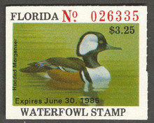 Florida Duck Stamp 1984 Hooded Merganser Deep Green Lime Color