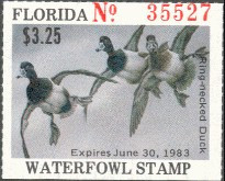 Florida Duck Stamp 1982 Ring - Necked Duck