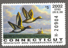 Connecticut Duck Stamp 2002 Lesser Scaup Hunter type (Serial # H)