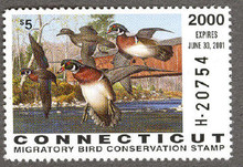 Connecticut Duck Stamp 2000 Wood Ducks Hunter type (Serial # H)