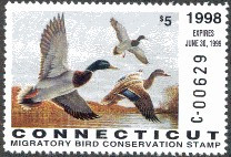 Connecticut Duck Stamp 1998 Mallards (Serial # C)