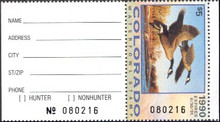 Colorado Duck Stamp 1990 Canada Geese Hunter with tab