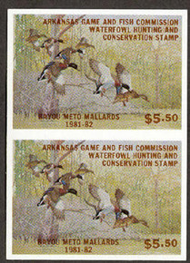 Arkansas Duck Stamp 1981 Mallards Vertical imperforate pair