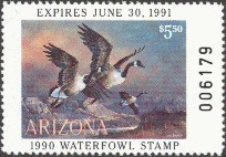Arizona Duck Stamp 1990 Canada Geese