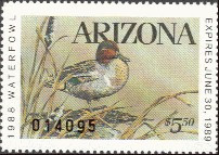 Arizona Duck Stamp 1988 Green - Winged Teal