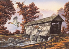 North Carolina Duck Stamp Print 1999 Green- winged teal / Covered bridge by Robert c. Flowers Jr. Artist Proof