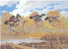 New York Duck Stamp Print 1987 Wood Ducks by Lee LeBlanc Medallion Edition