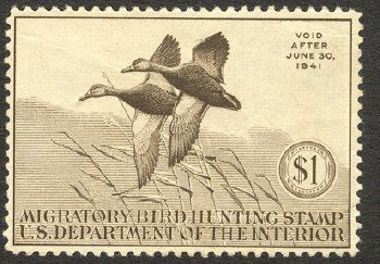 Federal Duck Stamp RW 7 ( 1940 Black Ducks )
