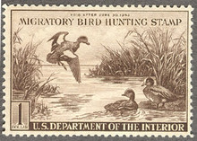 Federal Duck Stamp RW 9 ( 1942 American Wigeons )