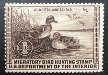 Federal Duck Stamp RW 6 ( 1939 Green - Winged Teal ) FINE NH