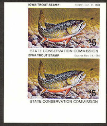 Iowa 1984 Trout Stamp fully Imperforate Vertical Pair