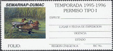 Mexico Duck Stamp 1995 Blue , Green , and Cinnamon Teals