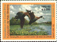 Costa Rica Duck Stamp 1992 White Faced Whistling Ducks Non Resident